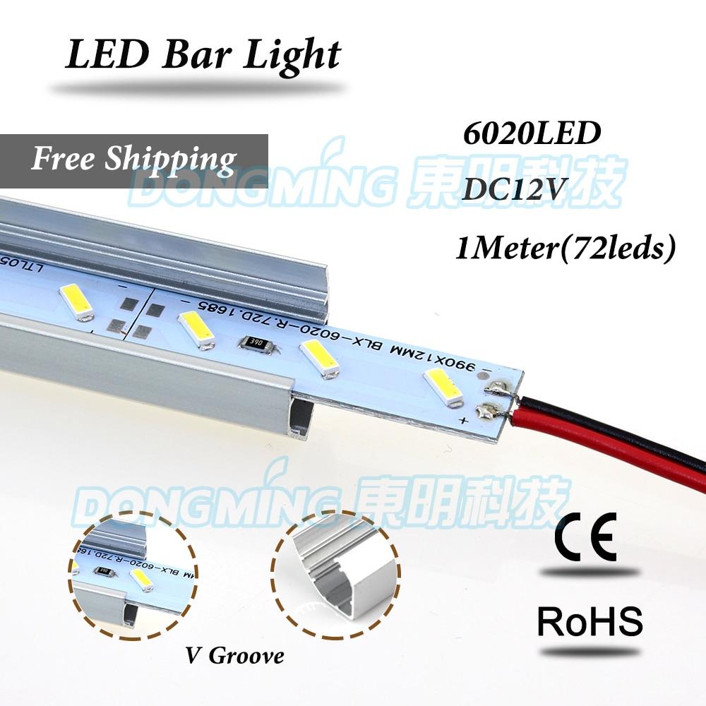 LED luces Strip 6020 72leds 100cm led luces bar light dc 12v kitchen closet jewelry showcase with U/V Shape Aluminium Profile