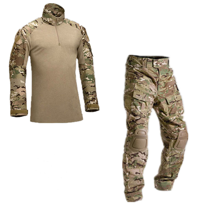 TACVASEN New Men Tactical Military Uniform Clothing Army Combat Uniform Tactical Pants With Knee Pads Camouflage Hunt Clothes