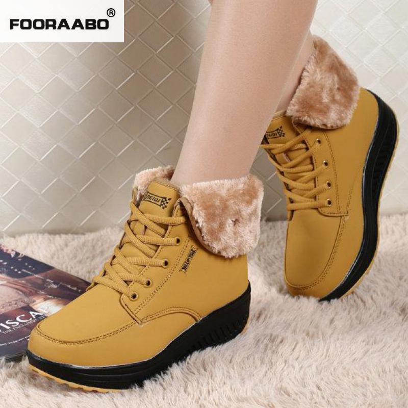 Winter Platform Wedges Women Shoes Plush Ladies Casual Shoes For Women Trainers High Platform Boots Botas