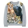2017 весна Природа Реальные Печати Тис Прохладный мальчики девочки футболка Мода Мальчиков с длинным Рукавом футболки 2-10y Лев тигр леопард