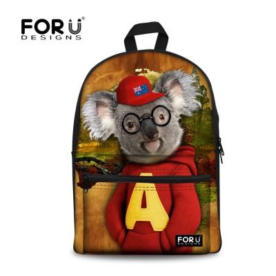 FORUDESIGNS Cute Animal Zoo Koala Backpack for Girls Canvas Women Rucksack Casual Children Child School Backbag Mochila Kids