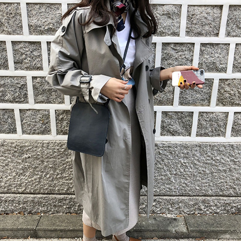2019 Spring autumn woemns grey   trench   long coat woman windbreaker gray overcoat woman clothes Elegant cape   trench   coat