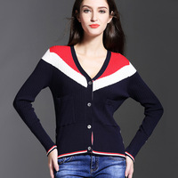 High Quality Europe 2017 Early Autumn New Women S Long Sleeved Tricolor V Neck Slim Knit