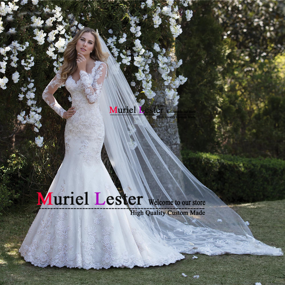 Illusion Tulle Mermaid Wedding Dress Robe De Mariee 2019 Appliques Long Sleeves Bridal Gowns Custom Made