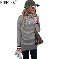 EIFFTER Frühling Herbst Frauen Hoodies Sweatshirts Neue Mode Damen Langarm Feste Pullover Mit Kapuze Langen Schlanken Mantel Jacken