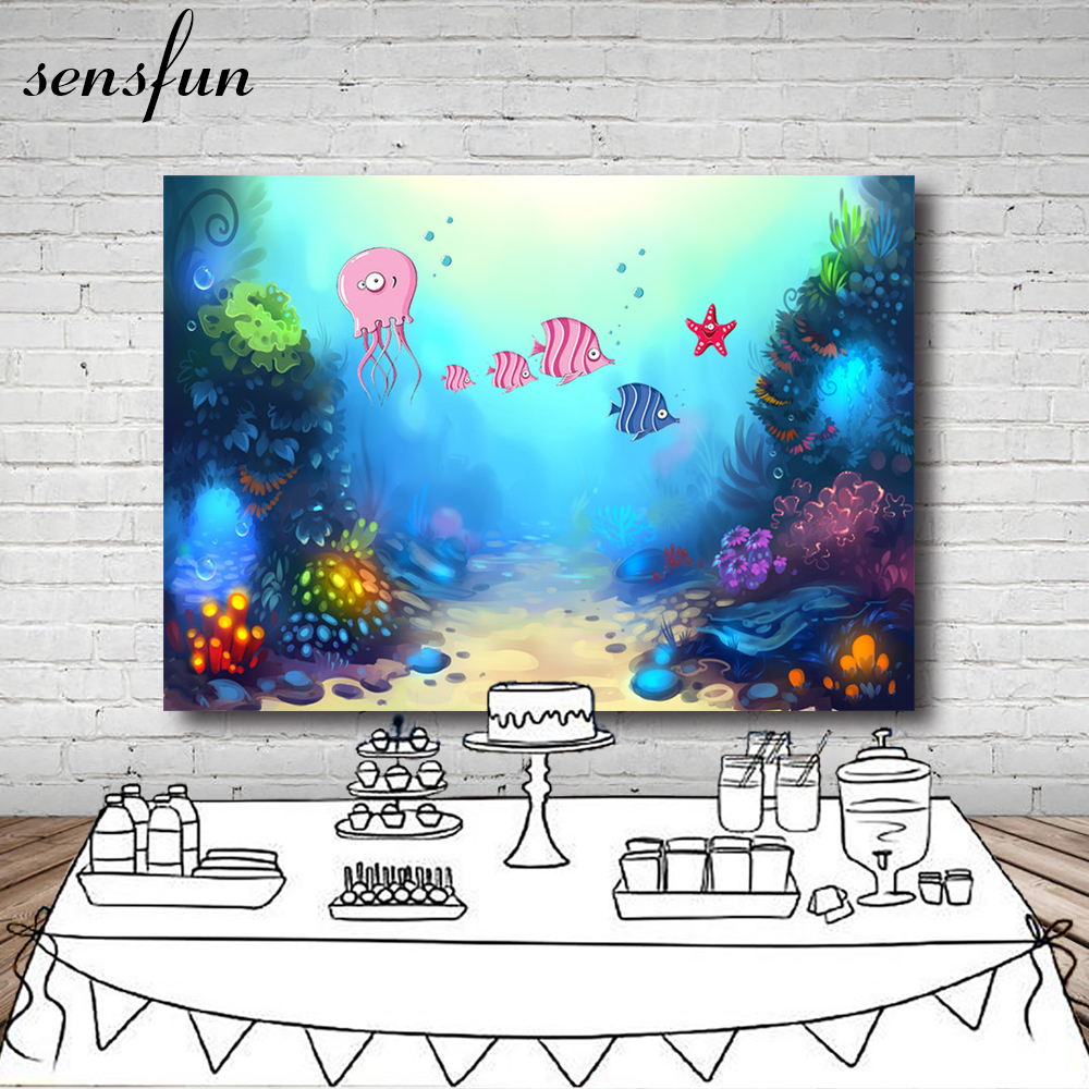 Objective Under Sea Fish Octopus Glowing Coral Backdrop Invitate Celebrate Birthday Party Table Banner Backgrounds For Photo Studio Demand Exceeding Supply Consumer Electronics