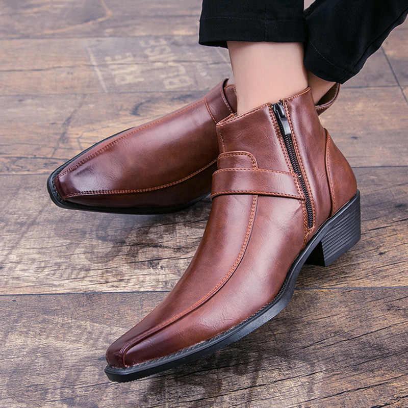 2020 Cowboy bottes hommes bottes Chelsea mode chaussures Zip hommes chaussures automne début hiver chaussures hommes bottines imperméable hommes chaussures