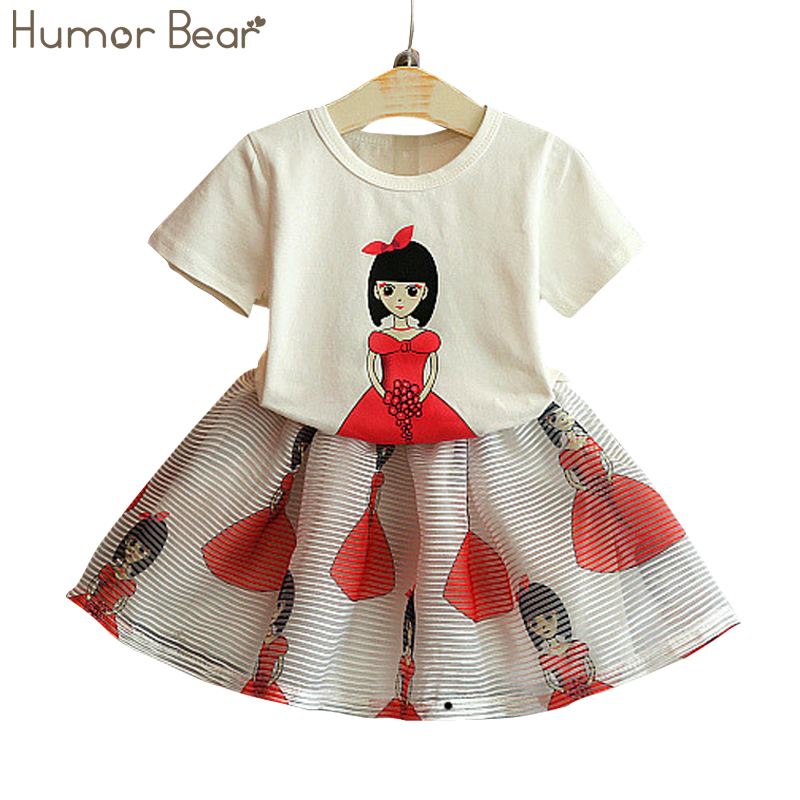 Humor Bear NEW Summer Style Girls Clothing Sets Cartoon Print T-shirt + Dress 2Pcs for Kids Clothes 3-7Y Short Sleeve