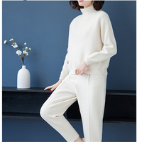 Fashion Knitted Suit Women's Autumn and Winter 2020 Double Cashmere Loose Sweater Harlan Radish Pants Casual Women Two Piece Set