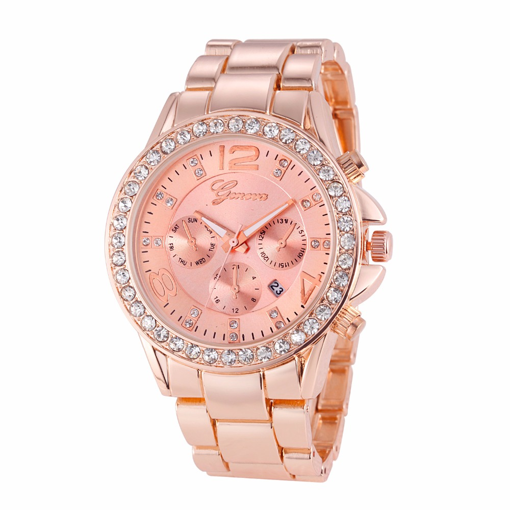 Men Geneva Watch Calendar Crystal Women Watches Casual Analog Quartz Clock Hours Ladies Rose Gold Wristwatches Relogio Feminino classic brand geneva relogio feminino casual quartz watch men women nylon strap dress watches women watch relojes hombre gift