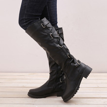 Autumn Winter Fashion Women Boots Shoes High Tube Square Heel Women Leather Boots Windproof Keep Warm Winter Boots Women стоимость