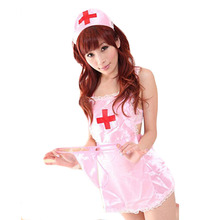 Nurse Custumes Role Playing  Exotic Sexy Women Lingerie Sexy Costumes LadiesPink White Apron Cosplay Costume Free Size  CC123