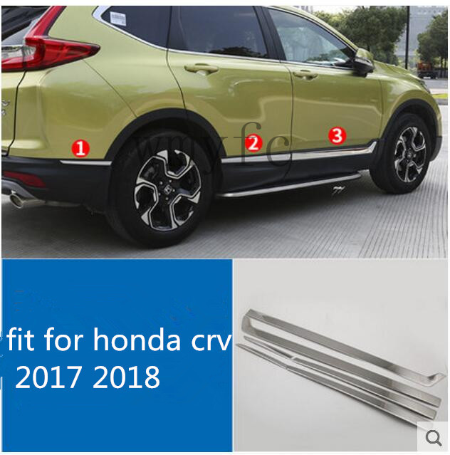 ACCESSORIES FIT FOR HONDA CRV CR-V 2017 2018 stainless steel SIDE DOOR BODY MOLDING TRIM COVER LINE GARNISH PROTECTOR 4pcs stainless steel side door body molding cover trim for bmw x5 f15 2014 2015 car accessories
