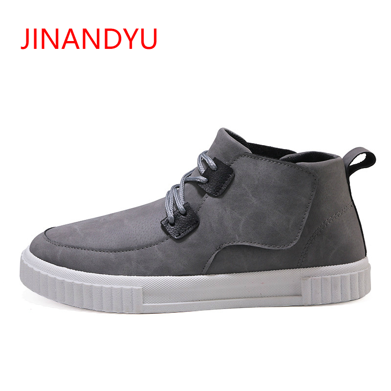 Men's Leather Ankle Boots Fashion Autumn Vintage Casual Mens Boots Men Leather Footwear Black Male High Top Sneakers 2018