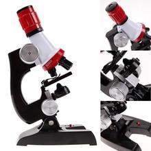 Naujas mikroskopas 100X 400X 1200X apšviestas vienakultūrinis biologinės mokyklos šviečiamas žaislų dovanų biologinis mikroskopas vaikams