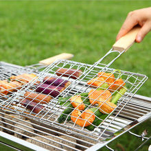 Camping Portable BBQ Net Grilling Basket Stainless Steel Removable Wooden Handle Nets Tools