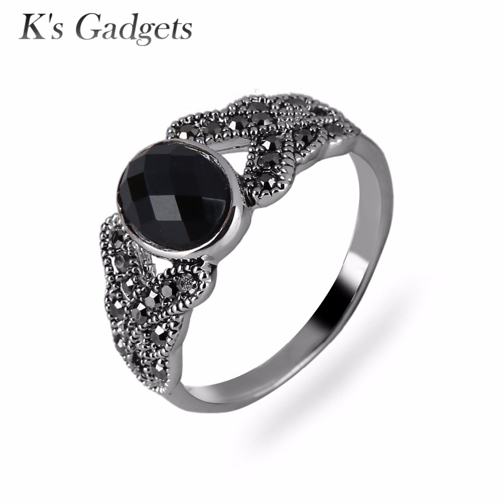 black resin stone rings for women antique silver color