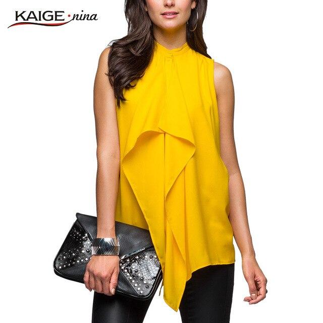Kaigenina новинка горячая распродажа женщины природные простые твердые с бантом шифон блузка 1109