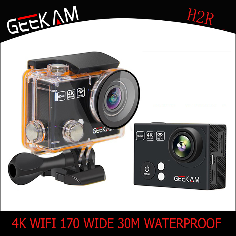 Caméra d'action GEEKAM H2/H2R 4 k HD pour gopro hero 4 Stlye Full HD 4 K 25FPS 1080 P 30FPS caméra de Sport en plein air étanche Wifi Cam