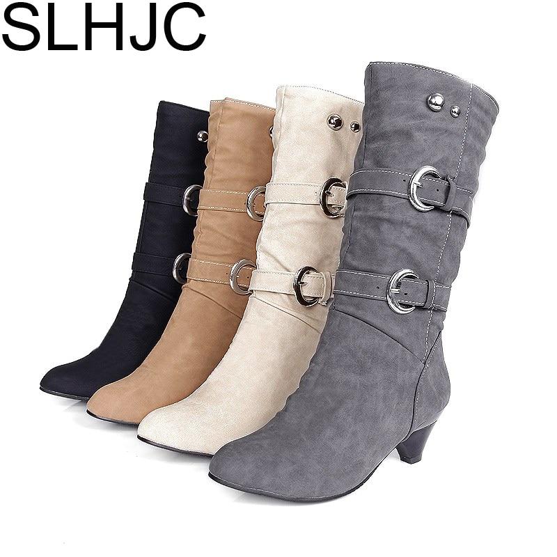SLHJC Boots Mid Calf Below Knee Suede Leather Pumps Medium Heels Pointed Toe Stiletto Heels Slip On Women Fall Fashion Must-Have цены онлайн