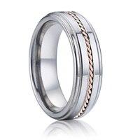 Luxury Alliances true rose gold inlaid fashion Titanium jewelry anniversary couple Wedding band tungsten Rings for women