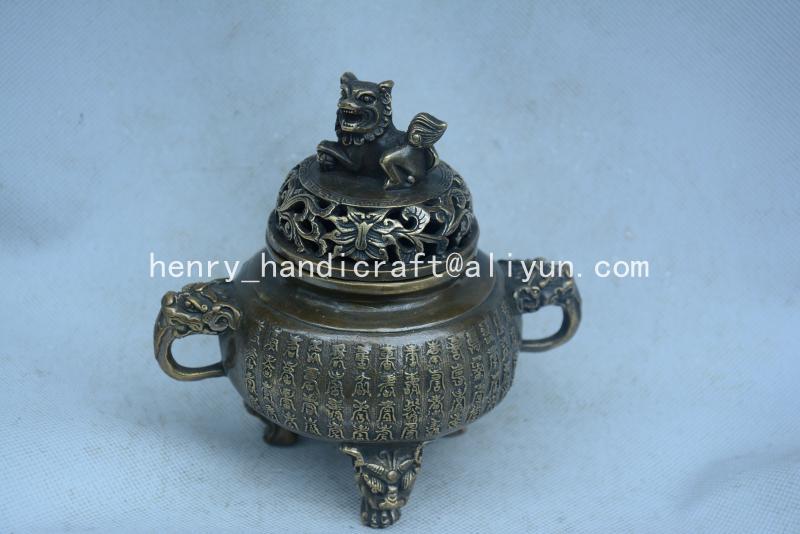 Antique QingDransty laiton brûleur d'encens, Lion, décoration, Collection & parure, livraison gratuite