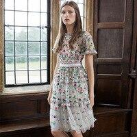 Платье Для женщин продажа плюс Размеры Европейский станция 2018 новый сетка пряжи водорастворимые тяжелой промышленности платье с вышивкой