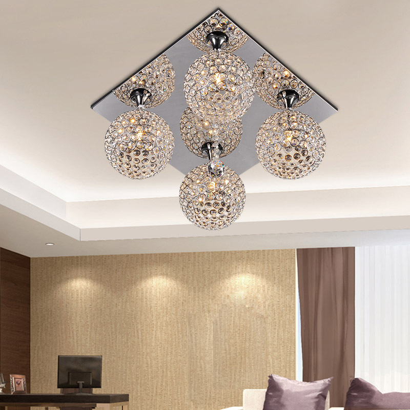 Square Top Crystal Ball Ceiling Lights Living Room Ceiling Lamp Bedroom Dining Room Ceiling
