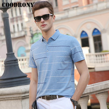 COODRONY Business Casual T-Shirt Men Clothing Spring Summer Mens T-Shirts Cotton Tshirt Striped Short Sleeve T Shirt S95053