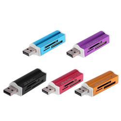 1 Pcs USB2.0 4 em 1 Liga de Alumínio Multi Card Reader Memória para SD/SDHC/Mini SD/ MMC/Tf Multi-função de Leitor de Cartão de Memória