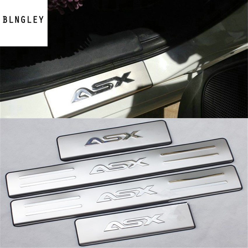 Free shipping 4pcs/lot for 2011 2012 2013 Mitsubishi ASX stainless steel scuff plate door sill pedal car accessories car sticker free shipping new for toyota tundra door sill stainless steel scuff plate threshold sticker accessories 4 pcs with lamp