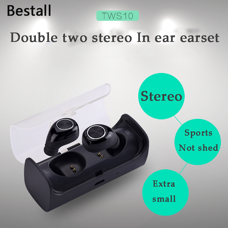 Bestall New Mini Twins Bluetooth earphone True Wireless Earbuds Double two stereo In ear earset for iPhone 7 Samsung HTC Xiaomi in 042 sports in ear earphone for iphone samsung htc xiaomi white black