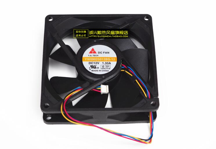 Emacro For Y.S TECH YW09025012BS 12 Server Square Fan DC 12V 1.33A 90x90x25mm 4 wire