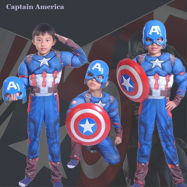 bcaa7325 Children Muscle Captain America Cosplay Clothing Deluxe Role-playing Clothes  Halloween Carnival Party Costumes 4 Typs