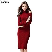 Осень-зима пикантные плеча водолазка вязание платье женские Повседневное тянуть роковой трикотажное платье красное вино праздничное платье женский