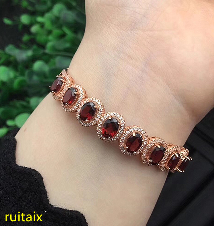 KJJEAXCMY fine jewelry 925 pure silver inlaid with natural large garnet female bracelet jewelry. цена