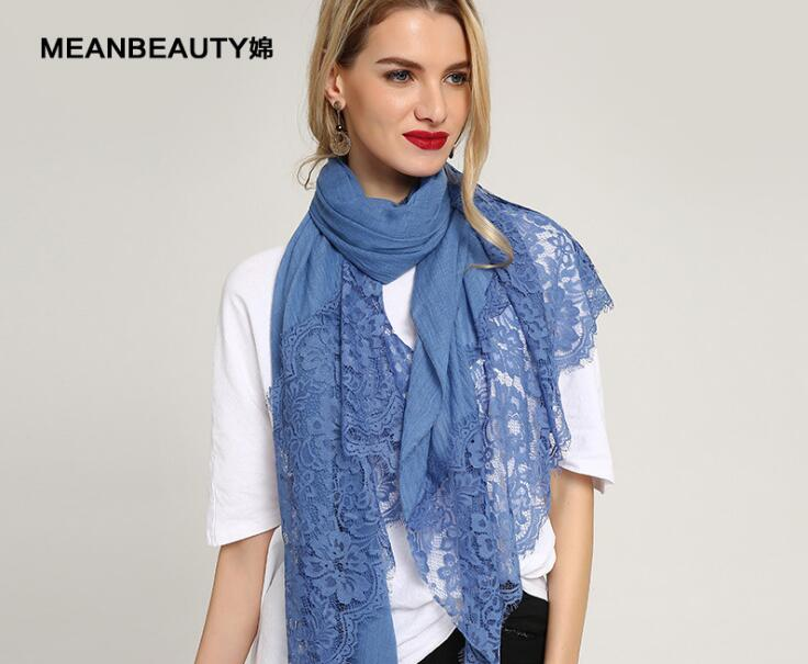 New Fashion 2019 Plain Cotton Shawls Scarfs Embroidery Lace Flower   Scarf     Wrap   Muslim Lace Hijab Floral Hijab 10pcs/lot