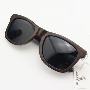 Image 1 - BOBO BIRD AG005a Handmade Ebony Wood Sunglasses Women Men Brand Design Vintage Fashion Glasses Gray Polarized Lens Accept OEM
