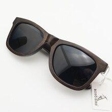 BOBO BIRD AG005a اليدوية خشب الأبنوس نظارة شمسية خشبية النساء الرجال العلامة التجارية تصميم خمر نظارات الموضة رمادي عدسات قطبية قبول OEM