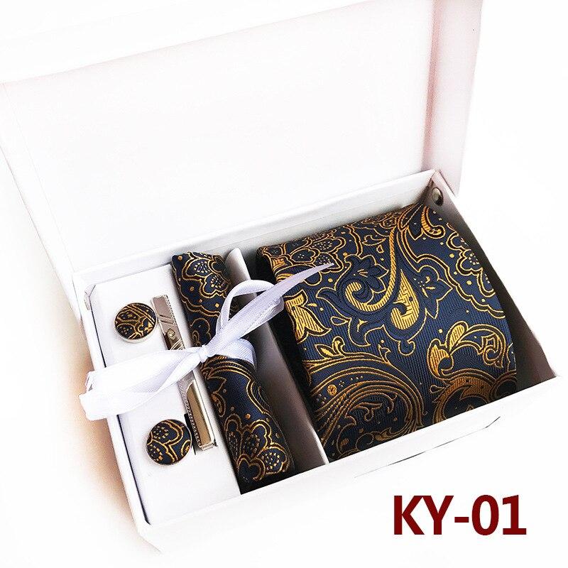 Luxury Paisley Cufflinks Handkerchief Tie Clip Necktie Set with Gift Box Tie for Men Holiday Wedding Graduation Gift