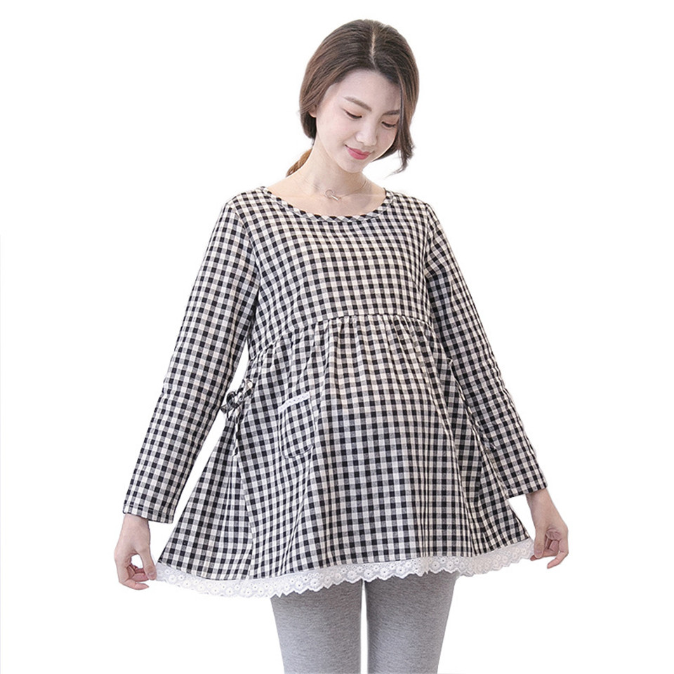 Long Sleeve Nursing Maternity Dress Breastfeeding Pregnancy Clothes 2XL Pregnant Women Plaid Nursing Tops Dresses Ball Gown