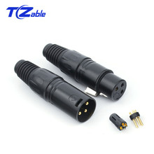 цена на XLR Connector 3 Pin Audio Plug Microphone Cable Connectors Black Male Female MIC Plug Cable Connect XLR Adapter 4.5mm Hole
