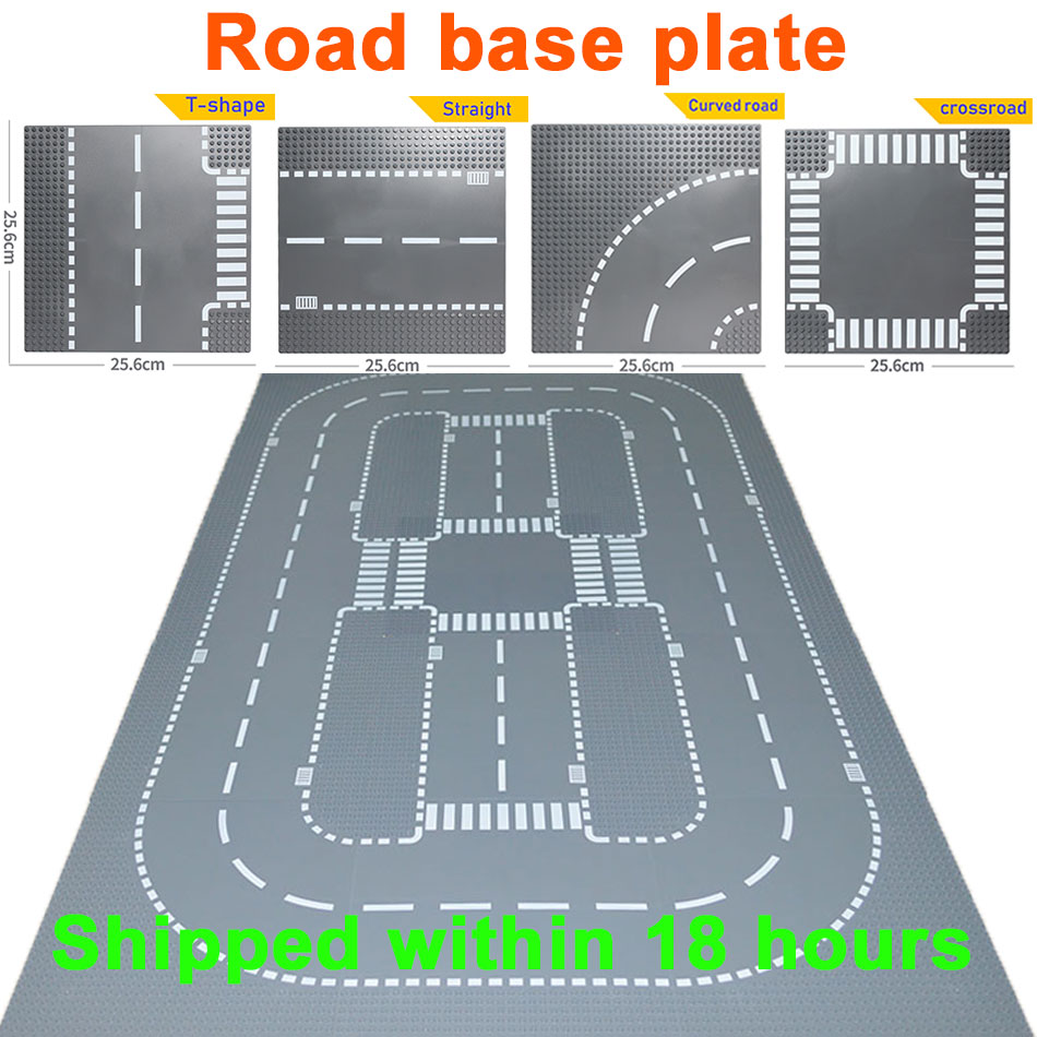 Road Street Baseplate Straight Crossroad Curve T-Junction Building Blocks Parts Bricks Base Plate Compatible LegoINGlys City