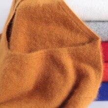 슈퍼 따뜻한 솜털 밍크 캐시미어 소프트 모피 v 목 스웨터와 여성을위한 풀오버 가을 겨울 점퍼 여성 브랜드 점퍼