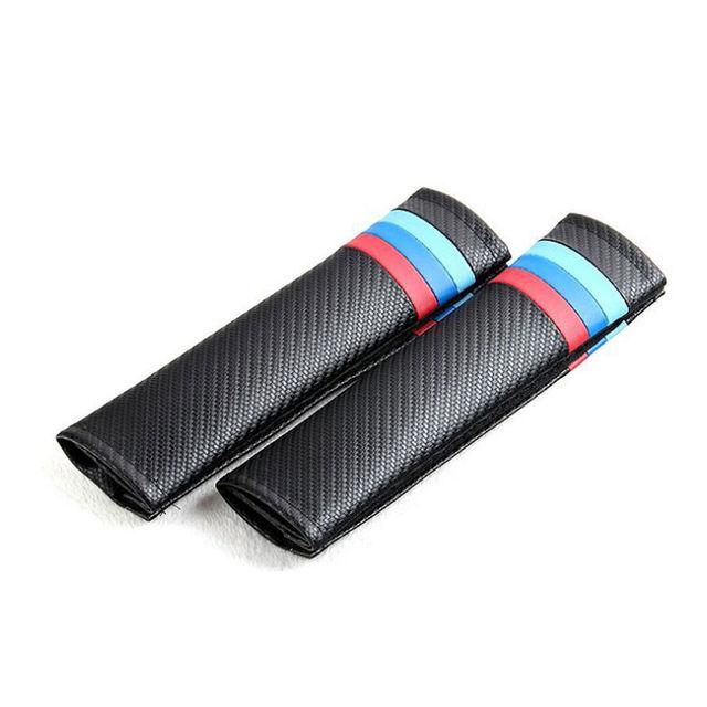 2 unids Fibra de Carbono Asiento de Coche Cinturón de seguridad Hombreras Fundas de Cojines Para 118i 320i M6