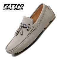 38 44 Handmade Genuine Leather Flats Men S Boat Shoes High Quality Loafers Brand Driving Shoes