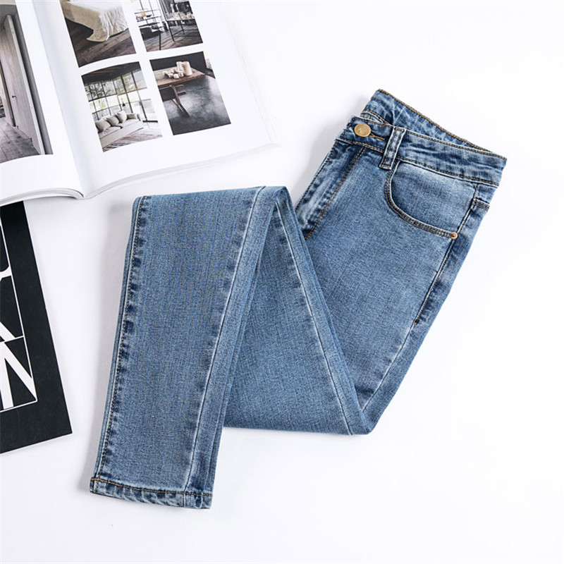 JUJULAND Denim Pants Jeans Stretch Women Trousers Black-Color Donna Female Bottoms Skinny