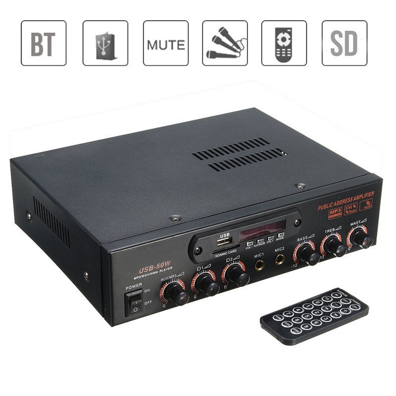 Wireless Version Amplifier Bluetooth AMP 2 MIC Home Karaoke Digital Audio Amplifier SD/USB Stereo Amplifier FM USB SD Card portable professional 2 4g wireless voice amplifier megaphone booster amplifier speaker wireless microphone fm radio mp3 playing
