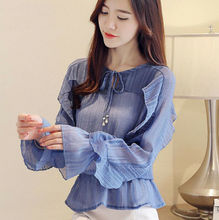 Autumn New Women Chiffon Shirt Long Sleeve Korea Ruffle Casual Blouse Tops