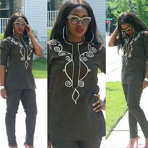 Image 2 - H&D 2020 African Women Dress South Africa Suits For Women Bazin Riche Embroidery Dashiki Shirt Pant Set Outfit Suit Clothes Robe